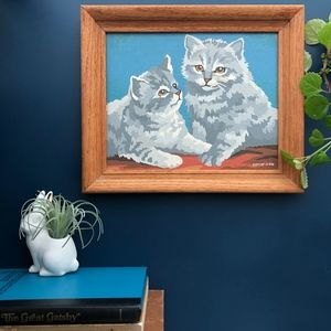 Vintage Paint by Number Cats Framed Wall Art